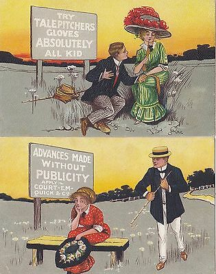 Postcard pair of humorous types LAXETTES Bowen & Co Melbourne advertising back