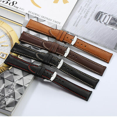 18mm-22mm Genuine Calf Skin Leather Watch Band Sliver Tan Clasp Strap For Tissot
