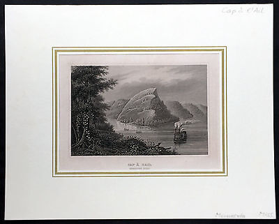 1852 Meyer Antique Print of a Paddle Steamer on the Mississippi River, Minnesota