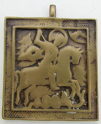 1700s ANTIQUE BRONZE RUSSIAN ORTHODOX ICON of ST.GEORGE