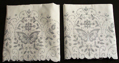 1930's MADEIRA PILLOWCASES HEAVILY EMBROIDERED BUTTERFLY + FLORALS SEED STITCHES