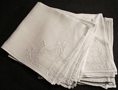 Antique Dinner Napkins Set Of 12 Fancy Filet With Embroidery 21-1/4""