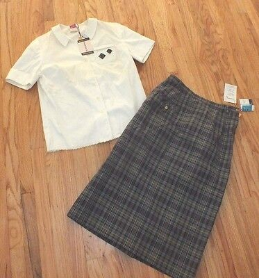 NEW Deadstock Vintage 40's 50's Rockabilly 2 Pc SET Blouse Skirt Plaid Small Med