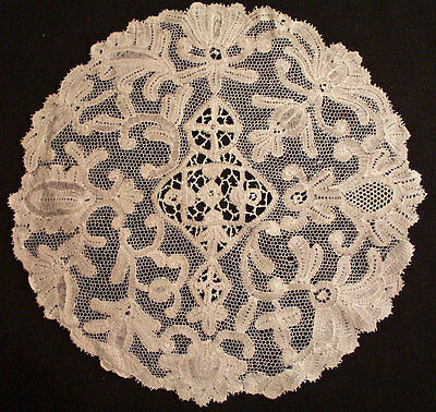 Antique Lace Italian Milanese Large Handmade Doily 11-1/2""