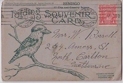 Stamp Australia 1d red KGV on 17 view Bendigo 1915 fold out Kookaburra postcard