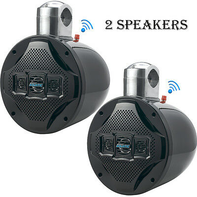 "PAIR-NEW Lanzar AQAWBS8BK 8"" Bluetooth Marine 4Way Tower Wakeboard Speaker 1200W"
