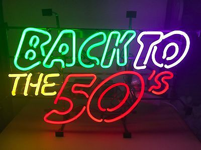 BACK TO THE 50`s Neonreklame Neon sign retro cult Leuchtreklame Neonschild news