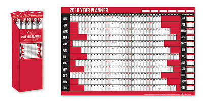 2018 Year Wall Planner Holiday Planner Including Pen and Stickers Office or Home