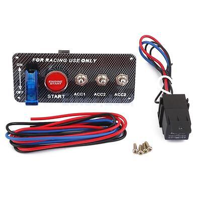 Racing Car 12V Engine Start Push Button Knebel Zündung Schalter Blau LED
