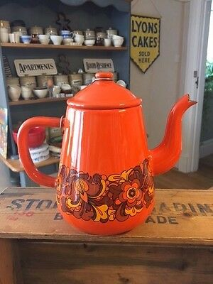 Vintage Bright Orange Patterned Enamel Teapot / Coffee Pot – Great Condition! –