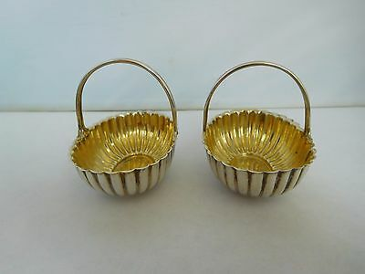Beautiful Pair Of Antique English Victorian Solid Silver Baskets / Trugs - 1894