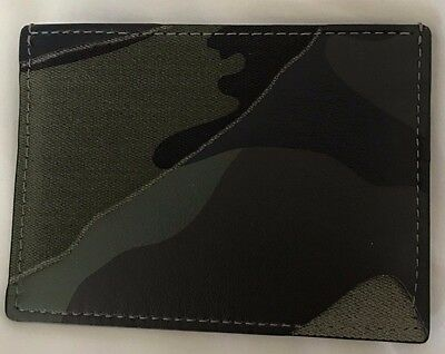 Valentino Unisex Leather And Canvas Camouflage Credit Card Holder Wallet