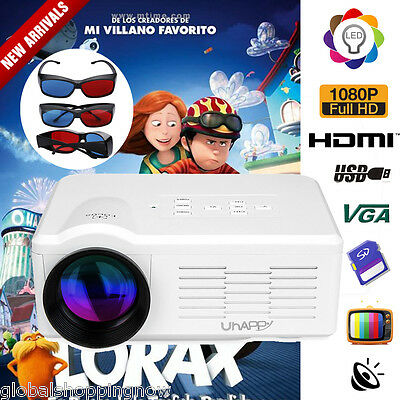 3000Lume 1080P HD LED Videoproiettore Home per Iphone Android+3x3D Glasses