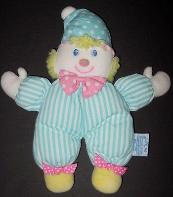 Eden Clown Doll Rattle Green White Stripes Soft Plush Cloth Stuffed Baby Toy