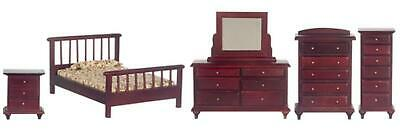 Melody Jane Dolls House Mahogany Double Bedroom Furniture Set Miniature Suite