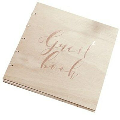 Beautiful Botanics Wooden Rose Gold Foiled Guest Book - for weddings