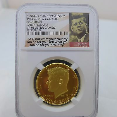 1964-2014 W Gold 50c Kennedy 50th Anniversary NGC PF70 Ultra Cameo Early Release