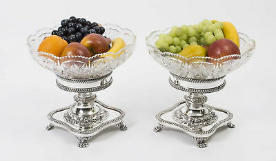 Pairof  English Silver Plate & Cut Glass Compotes