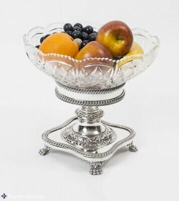 English Silver Plate Cut Glass Compote Centrepiece