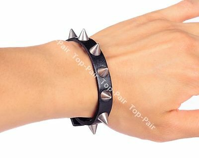 Women Punk Retro Silver Rivet Stud Black Leather Bracelet Cuff Wristband Unisex