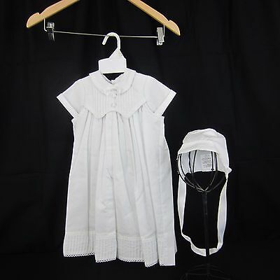 Baby Boys 3 Piece  White Christening Gown/ Baptism Outfit Romper Size 0-3 Months