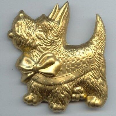 "1 Vintage Brass Scottie Dog With Bow Large Stamped 2.5"" Finding   3214"