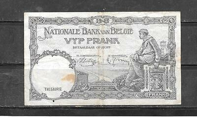 BELGIUM #108a 1938 VG CIRC 5 FRANCS OLD BANKNOTE PAPER MONEY CURRENCY BILL NOTE