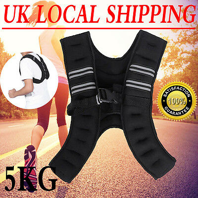 Weighted Vest 5Kg Gym Weight Training Running Adjustable Jacket Black Color Top