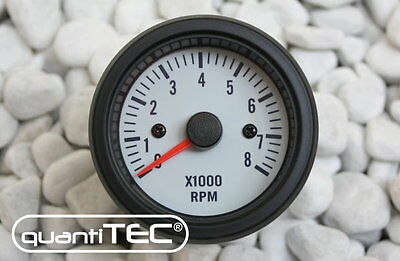 TACHOMETER DZM DISPLAY INSTRUMENT WHITE 2in 0-8000 RPM 2-8 CYLINDER OLDSCHOOL