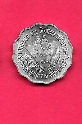 India Indian Km28 1974-B Unc-Uncirculated Commemorative 10 Paise Coin