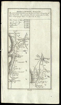 1778 Gernet Terry Map The Roads from Dublin to Mallow Ireland Copper Engraving