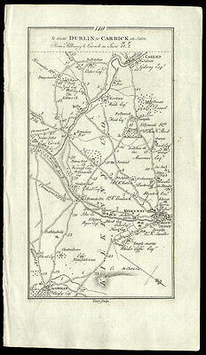 Gernet Terry 1778  Map The Roads from Dublin to Carrick Ireland Copper Engraving