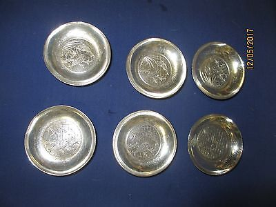 Antique Set of Six Butter Pats by James Tufts Silver Plate  ca 1880-1900