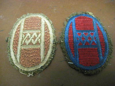 LOT OF 2 WW1 WW2 VINTAGE 30th ID SSI EBROIDERED WOOL BACKED PATCHES OLD HICKORY