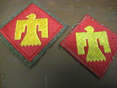 LOT OF 2 WW2 VINTAGE 45th ID SSI EBROIDERED WOOL BACKED PATCHES THUNDERBIRD