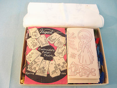 Vintage 1950's Embroidery Lot Stamped Linen VOGART Color Chart Transfers Thread