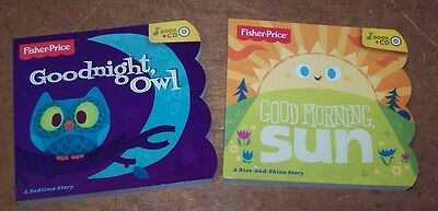 Lot of 2 Fisher Price Goodnight Owl & Good Morning Sun Board Book and CD sets