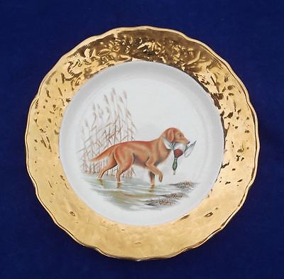"Old Pottery Ceramic Plate Crown O Gold 22K Gold Golden Retriever Dog 50s 9"" D"