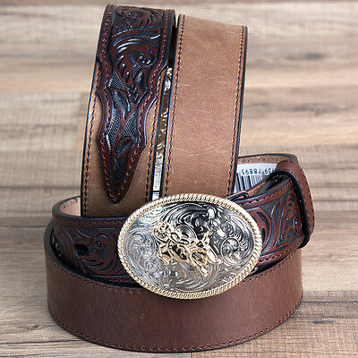 "26"" 3D 1 1/4"" Dark Brown Leather Floral Boys Youth Cowboy Western Basic Belt"