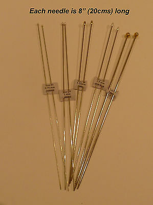 Set of 5 pairs of thin needles for miniature knitting or dolls' clothes knitting