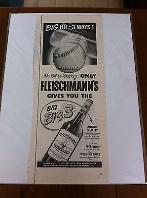 Vintage 1952 Fleischmann's Whiskey Bat Hitting Baseball Big Hit 3 Ways Print ad