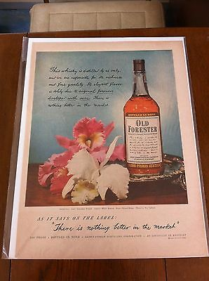 Vintage 1949 Old Forester Whiskeyi Pink & White Orchids Flower Flowers Print ad
