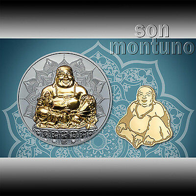 LAUGHING BUDDHA SILVER & GOLD 2 COIN SET - 2oz Black Proof & 24k Gold 2017 Palau
