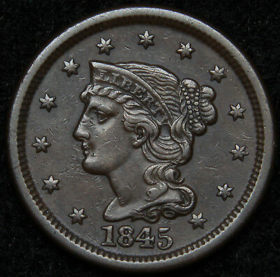 1845 Large Cent Penny, Braided Hair Penny - High Grade Coin Free Shipping (5005)