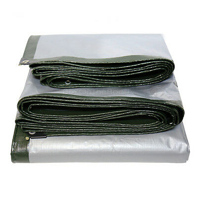 Heavy Duty Tarpaulin Waterproof Reinforced Cover Tarp Ground Sheet Tent Camping