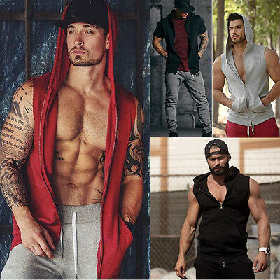 Men Gym Clothing Bodybuilding Hoodie Tank Top Muscle Hooded T-Shirt Hooded