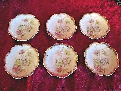 Lot of 6 Antique Butter Pats Pink Floral and Gold Unmarked