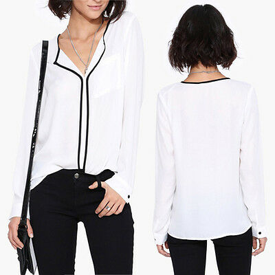 Fashion Women Casual Long Sleeve V Neck Loose Shirt Casual Blouse Tops