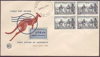 1959 Post Office - Block Of 4 On Wesley First Day Cover - Unaddressed (Ru2828)