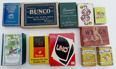 LOT OF 11 VINTAGE DECKS of PLAYING CARDS & GAMES
